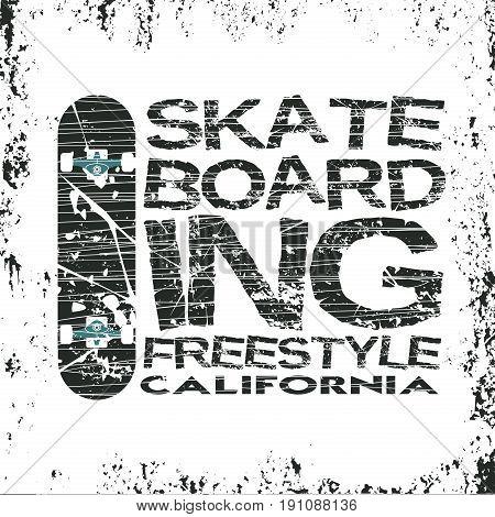 skateboarding t-shirt T-shirt inscription typography graphic design California skateboard