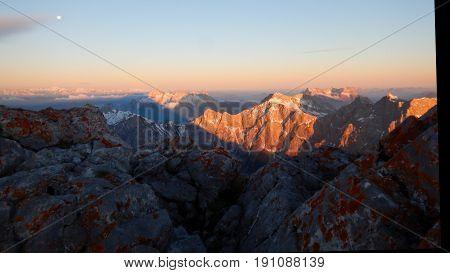 Climbing Mountain Ridge Watzmann In Germany
