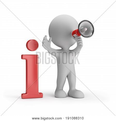3D person with loudspeaker gives information. 3d image. White background.