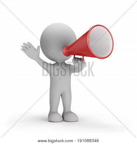 3d person with loudspeaker in hand. 3d image. White background.