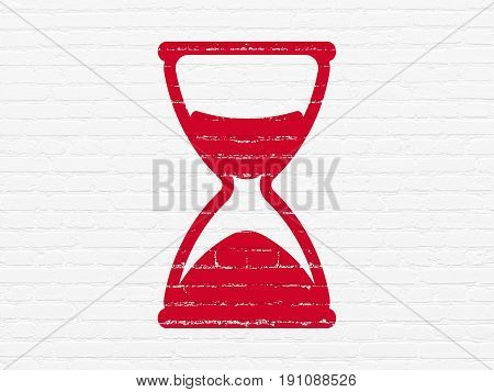 Time concept: Painted red Hourglass icon on White Brick wall background