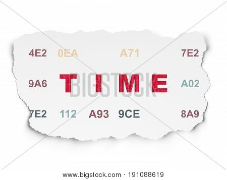 Time concept: Painted red text Time on Torn Paper background with  Hexadecimal Code