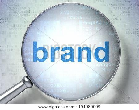 Advertising concept: magnifying optical glass with words Brand on digital background, 3D rendering