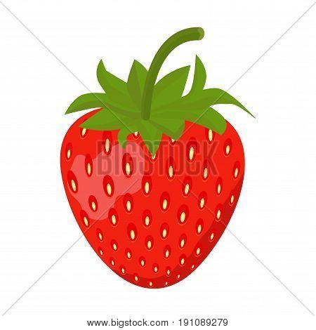 Strawberry Sweet fruit flat style, Strawberry icon isolated on White background, vector illustration.