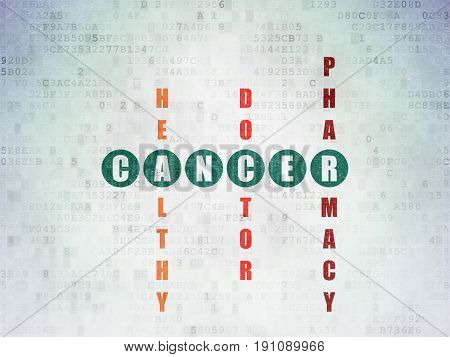 Health concept: Painted green word Cancer in solving Crossword Puzzle on Digital Data Paper background