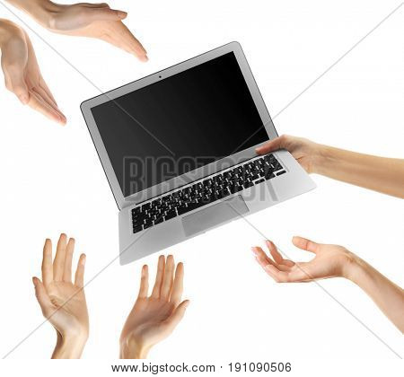Concept of right to information. Female hands with laptop on white background