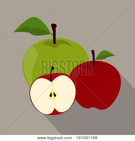 Apples isolated flat style, Apples icon isolated , Apples on a light Background, vector illustration.