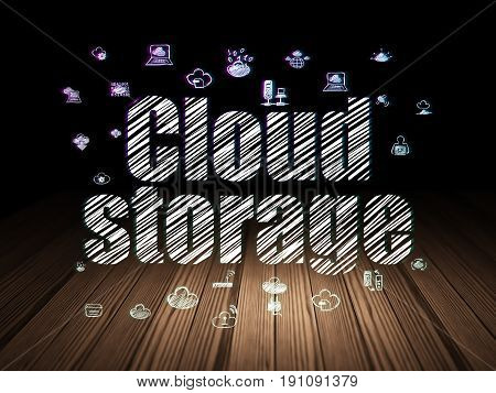 Cloud technology concept: Glowing text Cloud Storage,  Hand Drawn Cloud Technology Icons in grunge dark room with Wooden Floor, black background