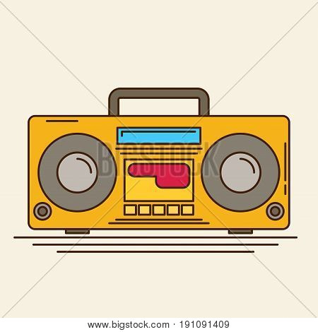 Magnetic cassette player. Flat vector icon for design