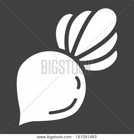 Beet solid icon, vegetable and diet, vector graphics, a glyph pattern on a black background, eps 10.
