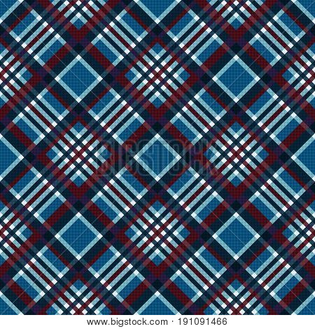 Diagonal Seamless Checkered Pattern In Blue And Red