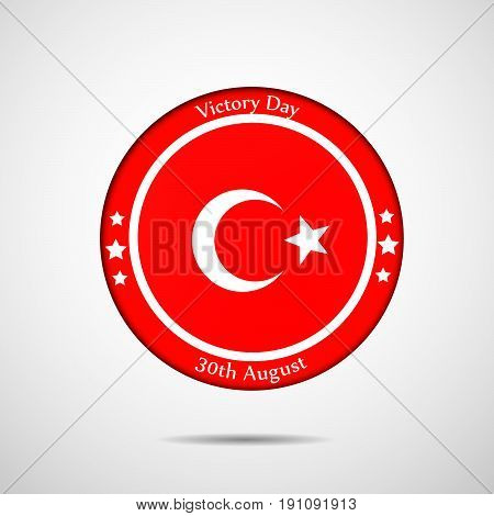 illustration of button in Turkey flag background with Victory day 30th August Text on the occasion of Turkey independence day