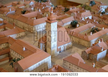 ZAGREB, CROATIA - FEBRUARY 15: Model of of the Zagreb Gradec with the church of St. Mark in Zagreb, Croatia on February 15, 2015.