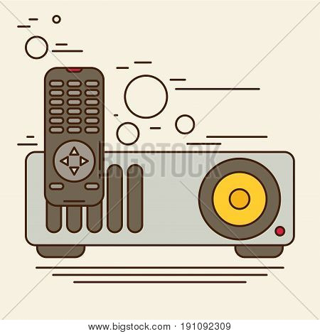 Projector vector flat colorful icon for design