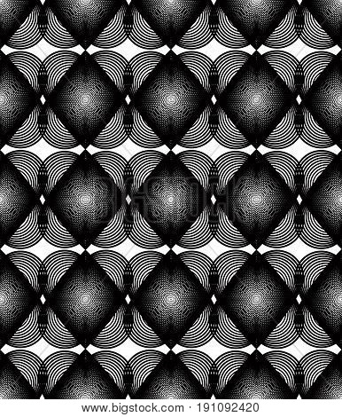 Black and white illusive abstract seamless pattern with overlapping hearts. Vector symmetric backdrop romantic idea.