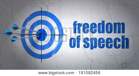 Success political concept: arrows hitting the center of target, Blue Freedom Of Speech on wall background, 3D rendering