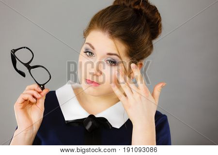 Business Woman Touching Her Tired Eyes