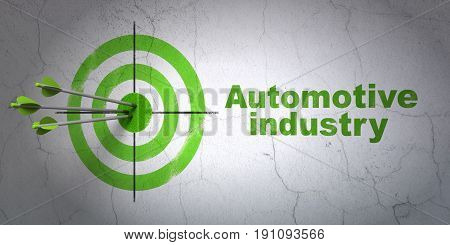 Success Manufacuring concept: arrows hitting the center of target, Green Automotive Industry on wall background, 3D rendering
