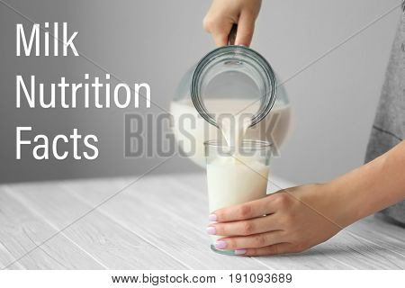 Woman pouring milk into glass at table. Text NUTRITION FACTS on background
