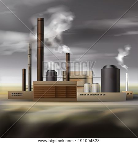 Vector chemical factory with smoke from pipes and overcast weather, air pollution concept