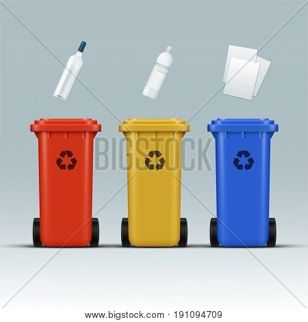 Vector set of red, yellow, blue recycle bins for glass, plastic, paper wastes