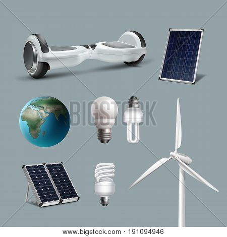 Vector set alternative and renewable energy with wind-powered electrical generators, solar panels, energy saving lamps, clean planet, hoverboard