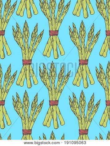Seamless pattern with sketch style asparagus bunch. Tile vegetarian background elements
