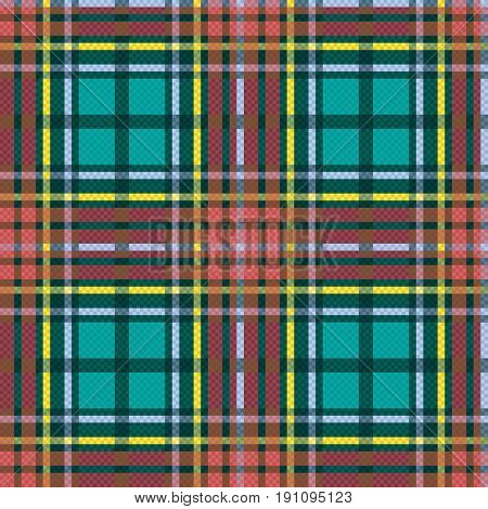 Seamless checkered vector multicolor pattern mainly in turquoise and brown hues