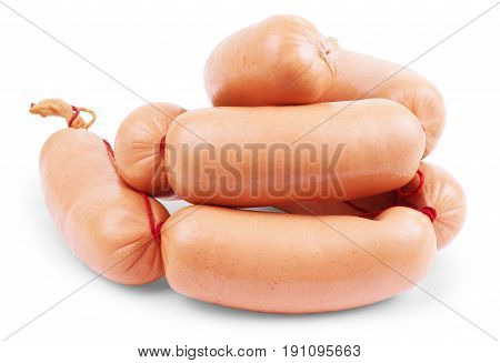 fresh sausages on white background Appetizer, Cooked, Pork, Desire, Ham, Smoked, Salami, Meats, Isolated-background