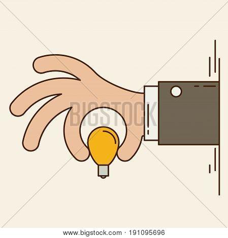 Cartoon businessman hand holding idea light bulb giving idea or show idea vector illustration.