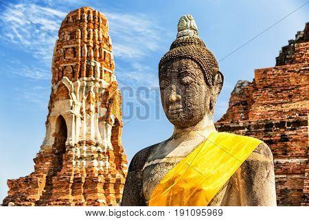 Wat Mahathat In Buddhist Temple Complex In Ayutthaya, Thailand
