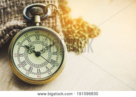 The concept of time - pocket watch sack in the morning