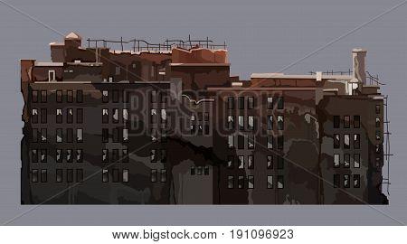 cartoon brown old dilapidated multi storey building