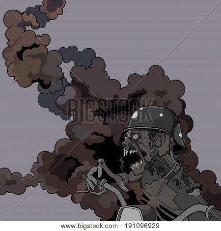 cartoon scary screaming zombie in a helmet in the smoke
