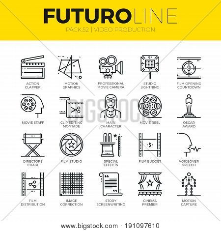 Unique thin line icons set of video studio production motion effects. Premium quality outline symbol collection. Modern linear pictogram pack of metaphors. Stroke vector logo concept for web graphics.