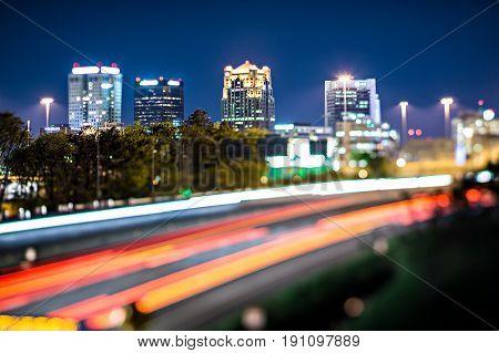 Birmingham Alabama City Skyline And Highway Traffic Trails