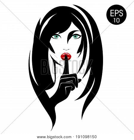 Quiet. Stock vector Woman with black hair, green eyes and red lips for your design