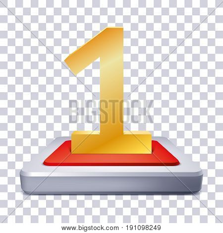 Gold Number 1 on the illuminated podium, red inside, one award pedestal on transparency background, geometry shape, vector design for you project