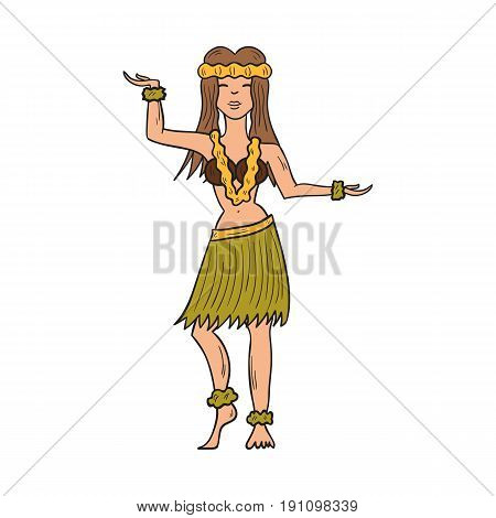 Vector illustration with cartoon hand drawn isolated Hawaii dancing girl on white background. Tropical woman icon Hawaii hula dance. Cartoon vector girl in green palm skirt with flowers