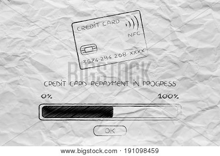 credit card with progress bar loading concept of repaying your debt