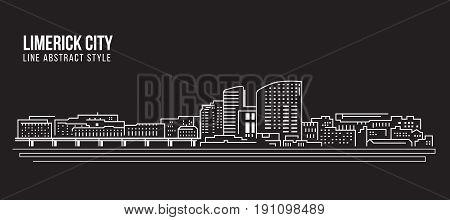 Cityscape Building Line art Vector Illustration design - Limerick city