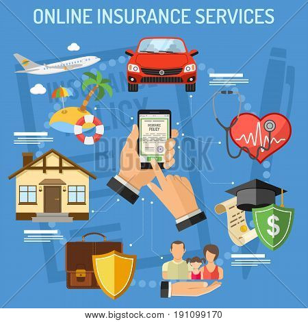 Concepts online insurance services. Man holding smart phone in hand and buying insurance policy. flat style icons Car, House, Medical, Education and Vacation. isolated vector illustration