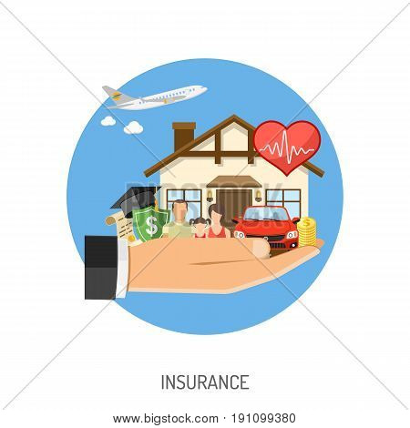 Insurance Services Concept. Man holding in hand flat icons House, Car, Medical, Travel and Family insurance. Isolated vector illustration
