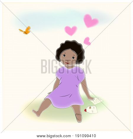 Cute dark skinned girl in love. Sitting on the grass, reading a letter from a boyfriend. Retro vintage illustration
