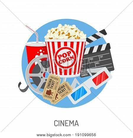 Cinema and Movie time concept with flat icons film reel, popcorn, paper cup, 3d glasses, clapperboard, cinema tickets. Isolated vector illustration