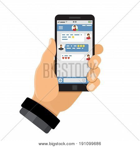 Man holding smartphone with messenger on screen. Avatars men and women in flat style in chat application. Isolated vector illustration