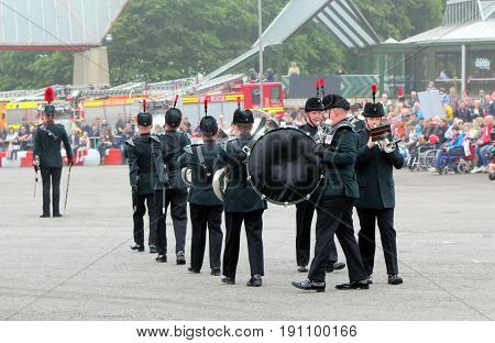 Beaulieu, Hampshire, Uk - May 29 2017: Military Marching Band Of The Winchester Rifles At The 2017 9