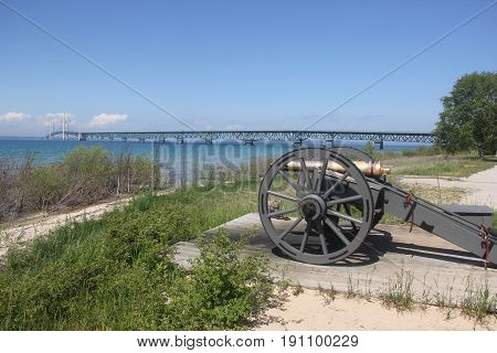A cannon at Fort Michilimackinac facing the Straits of Mackinac