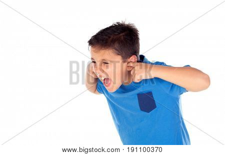 Stressed child covering his ears isolated on a white background