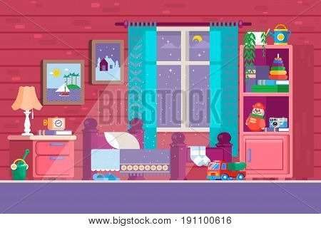 Some Kid Bedroom. Illustration of a cartoon children bedroom with boy or girl lifestyle elements, toys, bed, books, desk, bookshelf. Sleeping time. Flat vector illustration.